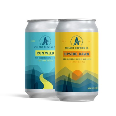 Athletic Brewing's two flagship offerings - Run Wild IPA and Upside Dawn Golden Ale. Refreshing non-alcoholic craft beers launching just in time for the Summer season!