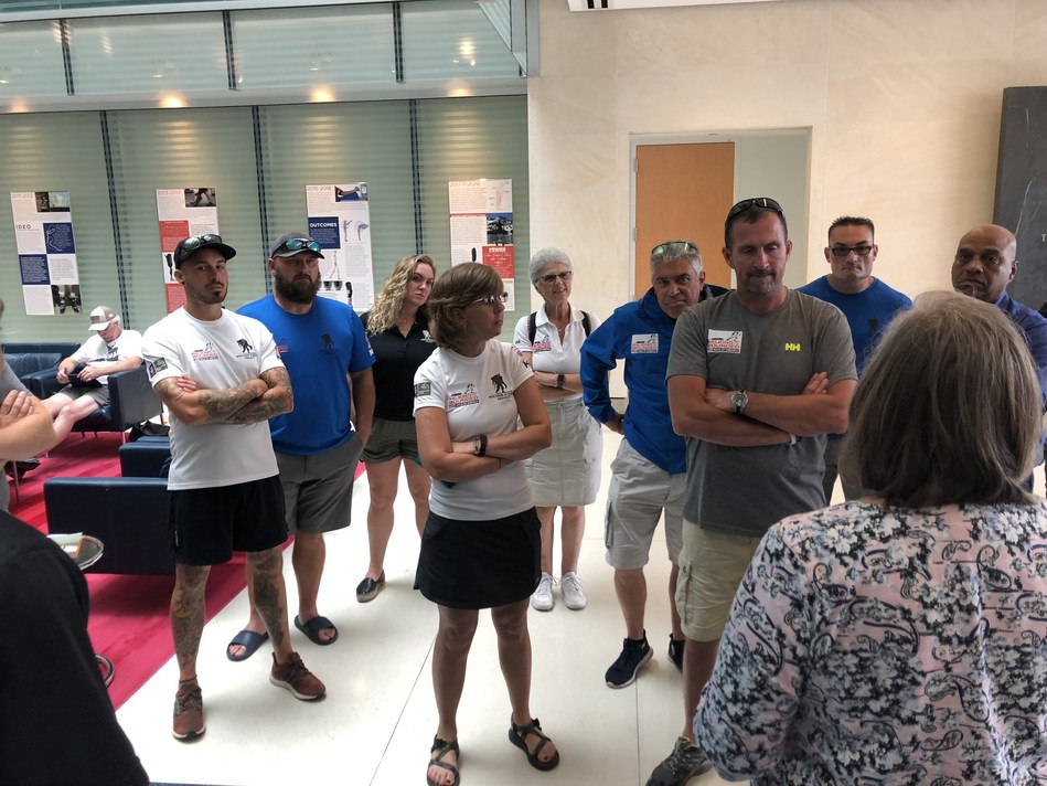 USMC veteran Larry Hinkle (blue shirt on the left) joined other walkers and Wounded Warrior Project to tour the Center for the Intrepid at Brooke Army Medical Center in San Antonio. Larry and other warriors taking part in the Walk Of America found inspiration seeing how amputee veterans are cared for.