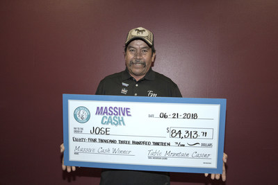 Table Mountain Casino's most recent Massive Cash Jackpot Winner. Congratulations to Jose of Gilroy!  #ThisIsWinning (PRNewsfoto/Table Mountain Casino)