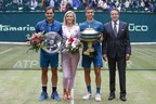 HALLE, GERMANY - JUNE 24: Tennis player Roger Federer, Gerry Weber testimonial international supermodel Eva Herzigova, tennis player Borna Coric and Ralf Weber, CEO Gerry Weber, during the Gerry Weber Open 2018 at Gerry Weber Stadium on June 24, 2018 in Halle, Germany. (Photo by Franziska Krug/Getty Images for Gerry Weber). (PRNewsfoto/Gerry Weber International AG)
