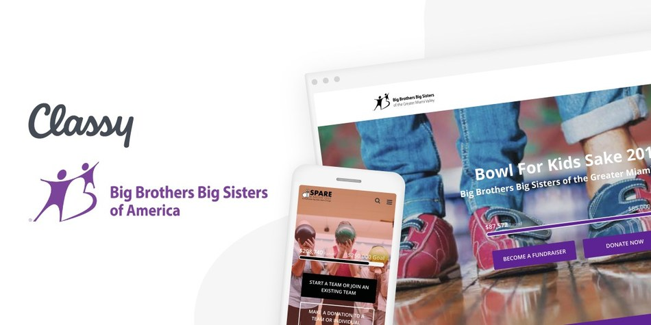 Big Brothers Big Sisters of America selects Classy as its preferred digital fundraising platform, building upon the successful results of more than a dozen local affiliates already on the Classy platform.