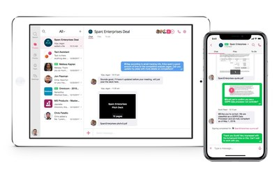 The Tact.ai Intelligent Workspace creates deal rooms controlled by the seller. Blending chat, voice and video messages, live meetings, document markups, to-do's, approvals, and e-signatures, the Workspace is available on any device.