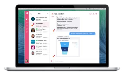 Tact.ai's Intelligent Workspace features an AI Assistant in every deal room. The Assistant is always an @mention away to answer any questions or pull any data.