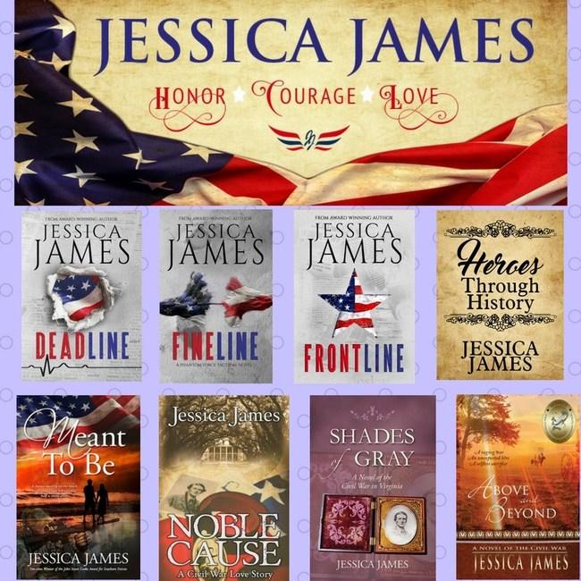 Bookshelf of award-winning military suspense author Jessica James