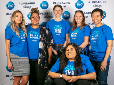 P&G employees, Joyce Law and Lindsay Reynolds, Centennial College's Shannon Brooks, and IGNITE student union representatives for Humber College and the University of Guelph-Humber, Kimberly Daniels, Stacy Ravich and Monica Khosla, participating in the Always #LikeAGirl packing event. (CNW Group/Always)