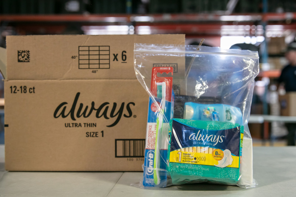 P&G personal hygiene kits with basic necessities donated to asylum seekers in Toronto. (CNW Group/Always)