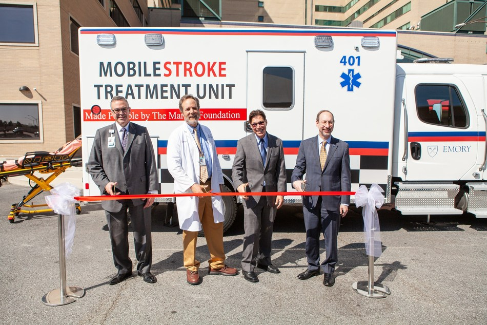 Grady Health System CEO John Haupert, Marcus Stroke Network Director Dr. Michael Frankel, Bruce Inverso, Senior Vice President, American Heart Association and Dr. Jon Lewin, CEO Emory Healthcare, cut the ribbon to officially launch Georgia's first Mobile Stroke Unit.