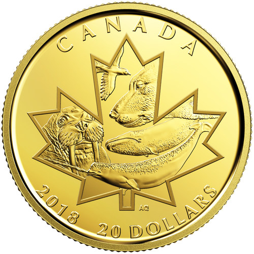 2018 $20 Pure Gold Coin - Symbols of the North (CNW Group/Royal Canadian Mint)