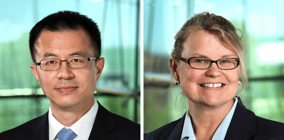 Wei Yang, PhD, Director of Target Discovery (left) and Sharon Klein, Director of Philanthropy (right).