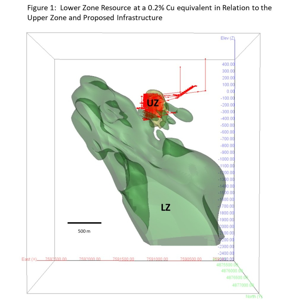 Figure 1: Lower Zone Resource at a 0.2% Cu equivalent in relation to the Upper Zone and Proposed Infrastructure (CNW Group/Nevsun Resources Ltd.)