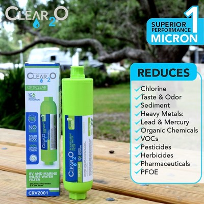 Clear2O® RV & MARINE Go Green Water Filter easily connects to any standard water or garden hose connection without tools. When camping water is necessary for drinking, rinsing, and showering the Clear2O water filter keeps sediment out of your RV water tank and to improve the taste and smell of your drinking water. The Clear2O® Go Green Filter has been independently tested to meet or exceed water quality industry standards for reduction of chlorine, lead, volatile organic compounds (VOC)