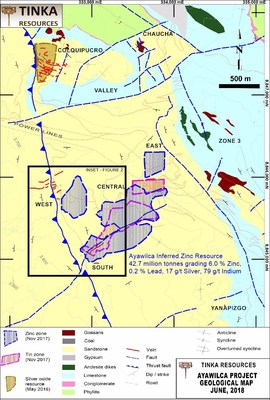 Figure 3.  Geological Map of Ayawilca showing footprint of zinc and tin resources (CNW Group/Tinka Resources Limited)
