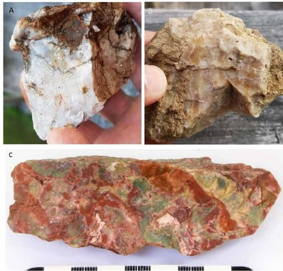 A Colloform banded quartz vein, B Crustiform banded quartz vein, C Brecciated, colloform chalcedonic quartz with jasper veins (CNW Group/Northern Shield Resources Inc.)
