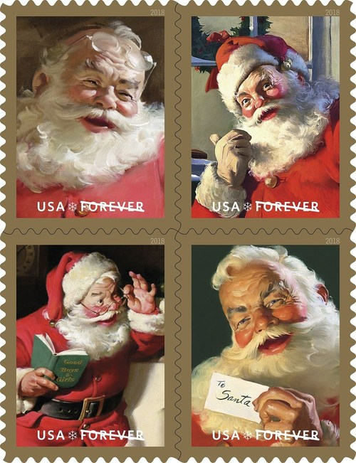 """The U.S Postal Service will ring in the 2018 holiday season with """"Sparkling Holidays"""" – Forever stamps featuring classic Santa images from 1950s Coca-Cola advertisements."""