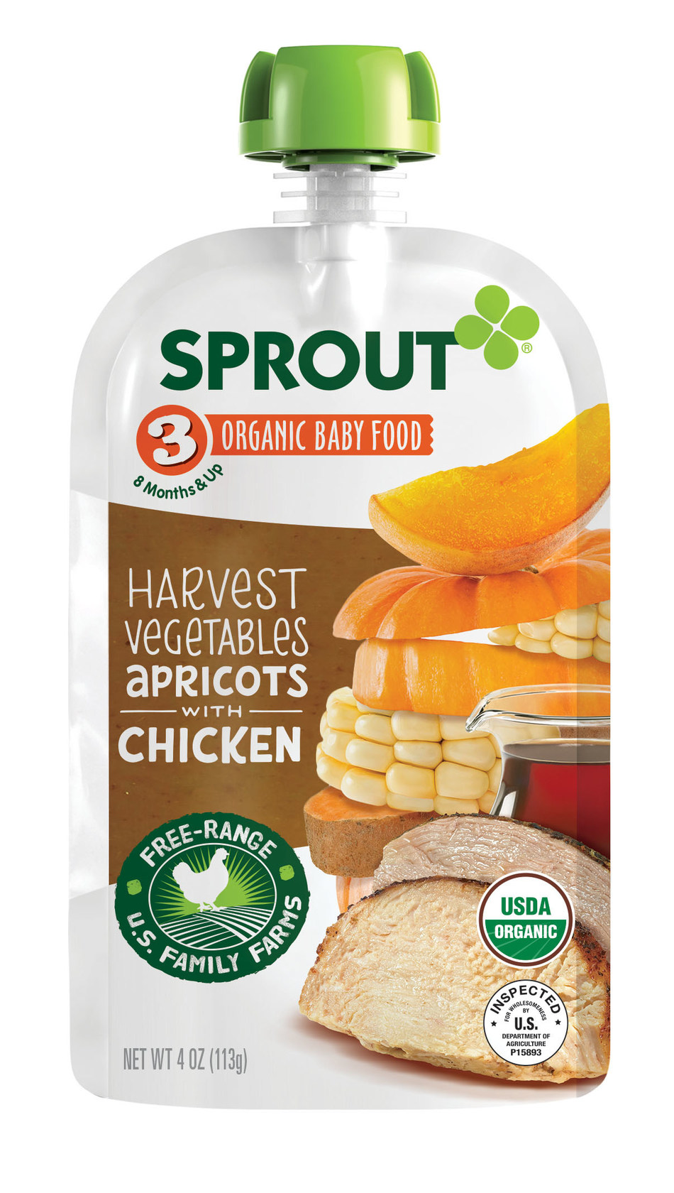 Harvest Vegetables Apricots with Chicken organic baby food pouch from Sprout Foods