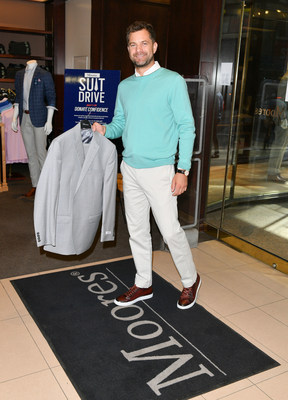 Acclaimed Canadian actor Joshua Jackson kicks off the 9th annual Suit Drive by making the first donation to the cause at Moores flagship in Toronto- supporting the retailer's national goodwill campaign to help disadvantaged men and women enter the workforce. Canadians can donate gently worn professional clothing at stores nationally throughout July.