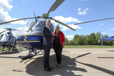 Romain Trapp, President, Airbus Helicopters Canada and COO North America Mrs. Miller, Minister, Nova Department of Natural Resources. Photo Credit: Communications Nova Scotia (CNW Group/Airbus)