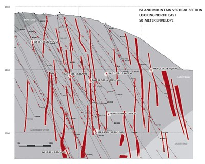 Island Mountain Vertical Section (CNW Group/Barkerville Gold Mines Ltd.)
