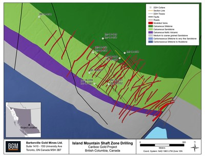 Island Mountain Shaft Zone Drilling (CNW Group/Barkerville Gold Mines Ltd.)