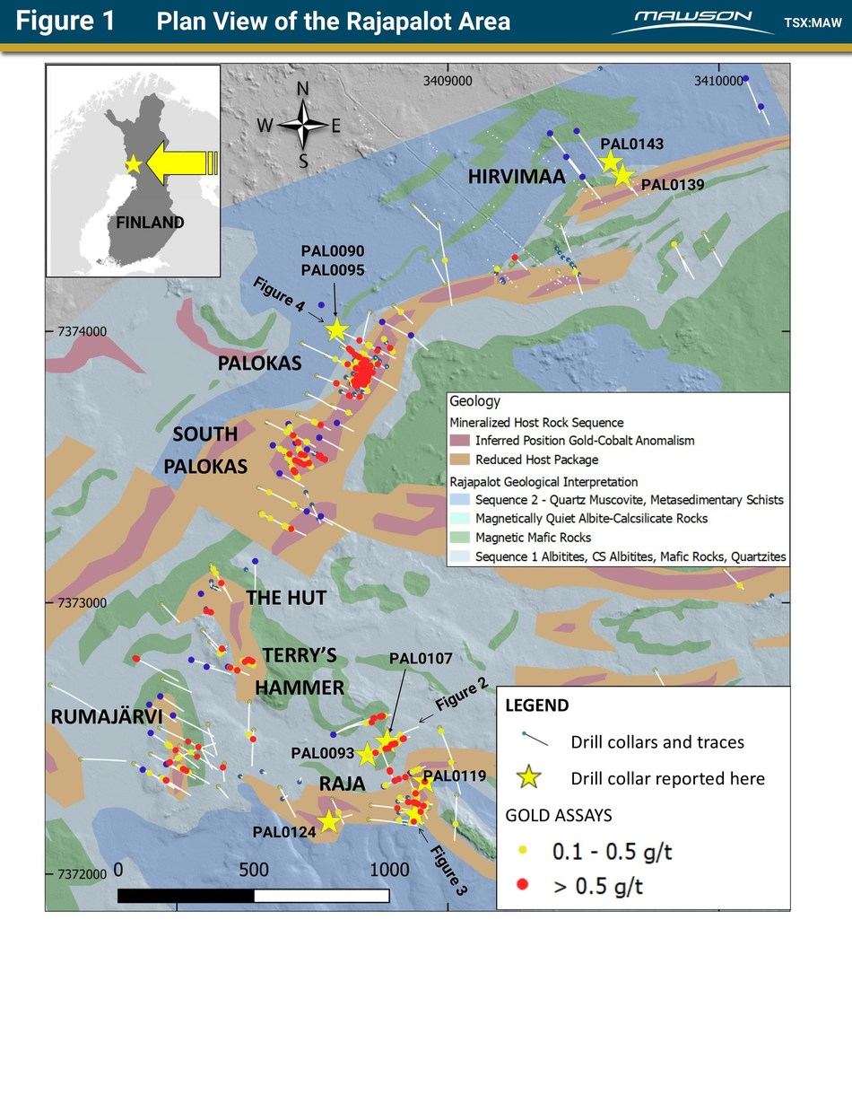 Figure 1 Plan View of the Rajapalot Area (CNW Group/Mawson Resources Ltd.)