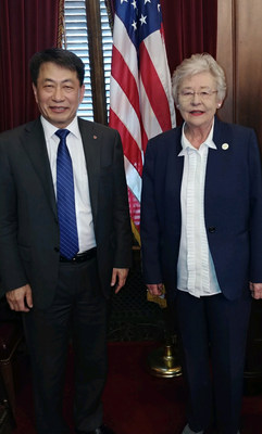 Alabama Gov. Kay Ivey congratulates Soon Kwon, global president of the LG B2B (Business-to-Business) Company, for LG Electronics' plans to establish a new solar module assembly plant in Huntsville.
