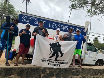 Injured veterans, their families, and guests spent a relaxing morning on paddleboards and experienced the unique perspective of the ocean shore during a Wounded Warrior Project® connection event on the north shore of Oahu's Haleiwa Beach Park.