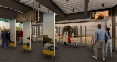 Rendering of interior elephant barn