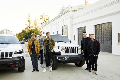 "Jeep brand and OneRepublic partner to launch band's new song ""Connection"" as part of FCA Apple experience campaign and Summer of Jeep (from left to right: Drew Brown, Brent Kutzle, Ryan Tedder, Zach Filkins, Eddie Fisher)"