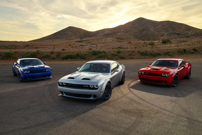 Dodge launches the most powerful SRT Hellcat lineup ever. New 2019 Dodge Challenger SRT Hellcat Redeye and its 797-horsepower supercharged HEMI® high-output engine is the most powerful, quickest and fastest muscle car. Challenger SRT Hellcat boasts new rating of 717 horsepower and 656 lb.-ft. of torque. The 485 horsepower Challenger R/T Scat Pack Widebody features fender flares from the SRT Hellcat Widebody and adds 3.5 inches of width to the Scat Pack's footprint.