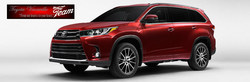 Red 2017 Toyota Highlander model on display with Toyota Vacaville logo