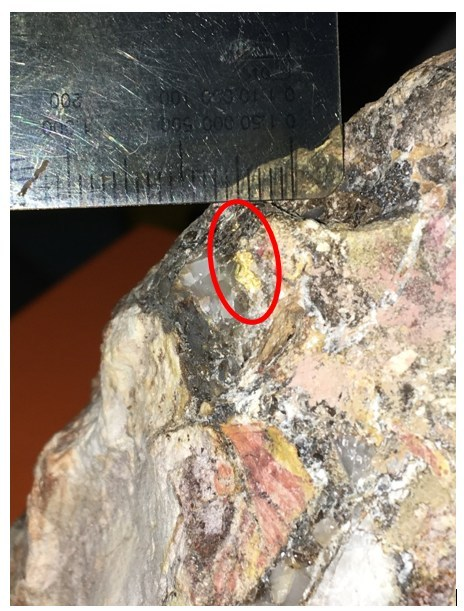 Figure 3: Visible Gold in Vein Structure (scale is of millimetre divisions). (CNW Group/NxGold Ltd.)