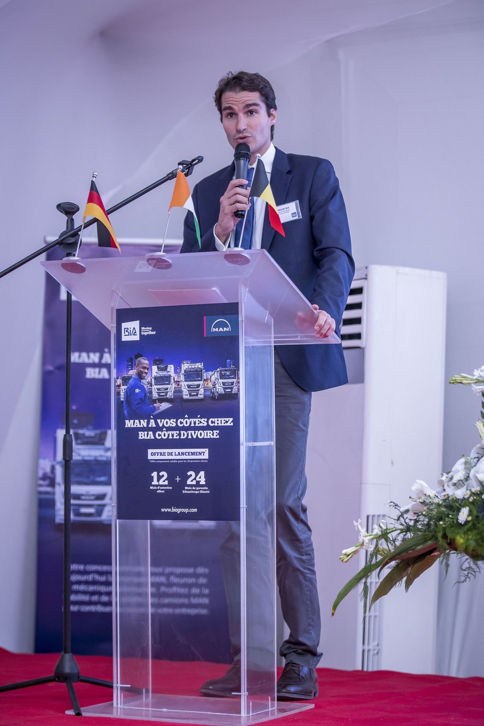 MAN Launch in Ivory Coast: Opening speech from Romain BIA, Managing Director BIA Ivory Coast (PRNewsfoto/BIA Group and MAN Truck & Bus AG)