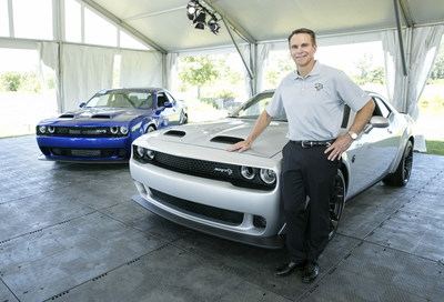 Steve Beahm, FCA Head of Passenger Car Brands - Dodge, SRT, Chrysler and Fiat, unveiled the new 2019 Dodge Challenger SRT Hellcat Redeye (right) and the 2019 Dodge Charger SRT Hellcat Widebody (left) at FCA's Chelsea Proving Grounds in Chelsea, Michigan, today. Featuring a Hellcat 797-horsepower supercharged HEMI® high-output engine, Challenger Hellcat Redeye joins the most powerful SRT Hellcat lineup ever. (PRNewsfoto/FCA US LLC)