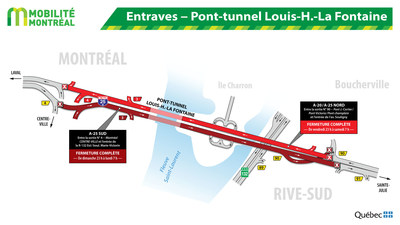 Entraves − Pont-tunnel Louis-H.-La Fontaine (Groupe CNW/Ministère des Transports, de la Mobilité durable et de l
