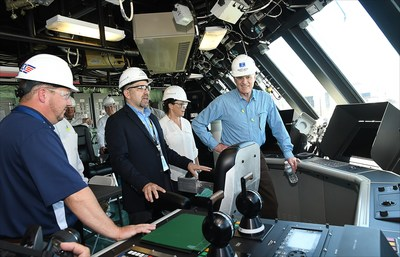 Secretary of the Navy, The Honorable Richard V. Spencer (far right), tours LCS 13 (Wichita), during his tour of the Fincantieri Marinette Marine shipyard. He was joined by Ms. Polly Spencer, sponsor of LCS 27 (Nantucket) and Secretary Spencer's wife.