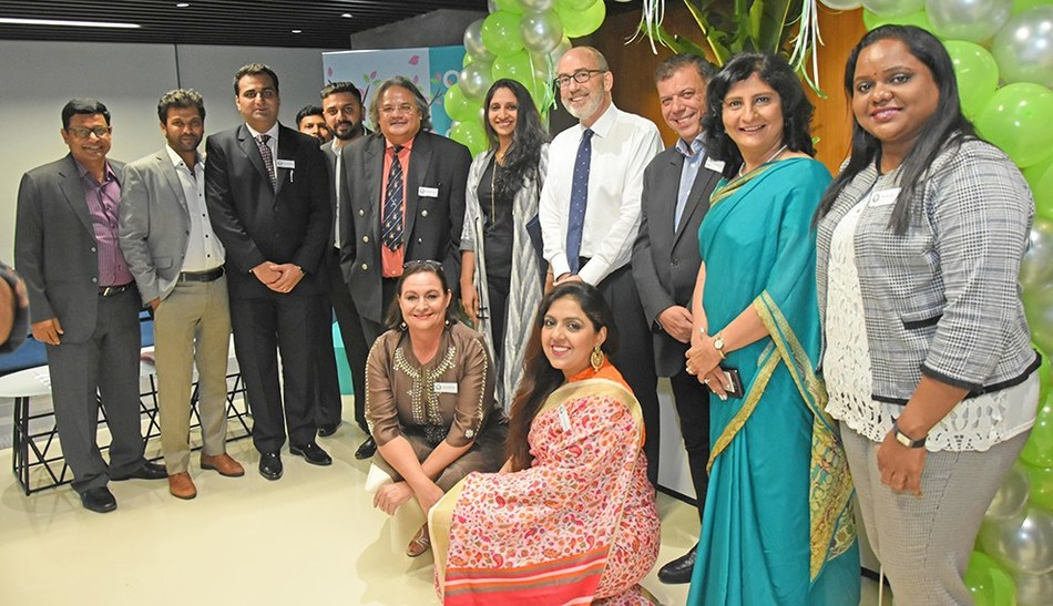 Andrew Price, HH Global Chief Executive Officer APAC, Amita Karwal, HH Global Country Manager - India, Anna Holman Head of Operations - India, during the official opening of the Mumbai office in the presence of the UK Deputy High Commissioner (West India), Crispin Simon. (PRNewsfoto/HH Global)