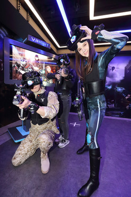 Players pose before starting Special Force VR: Universal War, a first-person shooting game, at VRIGHT in Sinchon on March 6.