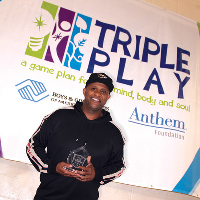 CC Sabathia accepts the Anthem Health Champion Award at Boys & Girls Clubs of America's Triple Play Day