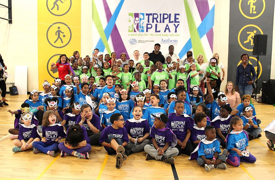 Hundreds of kids from Boys & Girls Clubs of Harlem participate in Boys & Girls Clubs of America's Triple Play Day made possible by the Anthem Foundation and The Coca-Cola Company