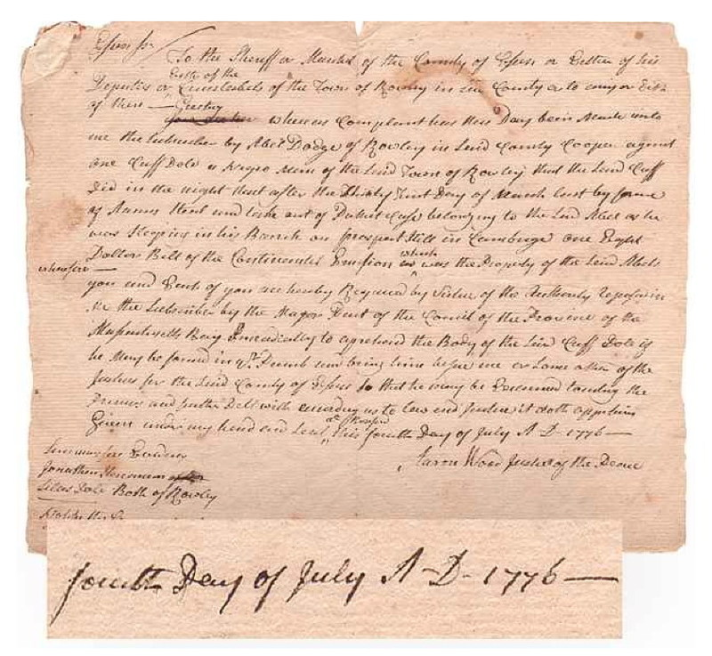 Believed the earliest known document of the newly-independent United States identifying an African-American by name. Dated July 4, 1776, African-American soldier Cuffee Dole's life has become a legend in his corner of Massachusetts, encompassing slavery, freedom, patriotism, and forgiveness. In July 24, 2018 auction, https://cohascodpc.com, Lot 5-1.