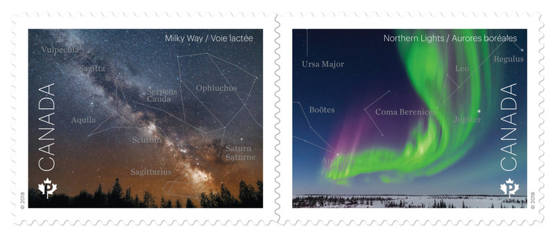 Astronomy stamps: The Milky Way and the Northern Lights (CNW Group/Canada Post)