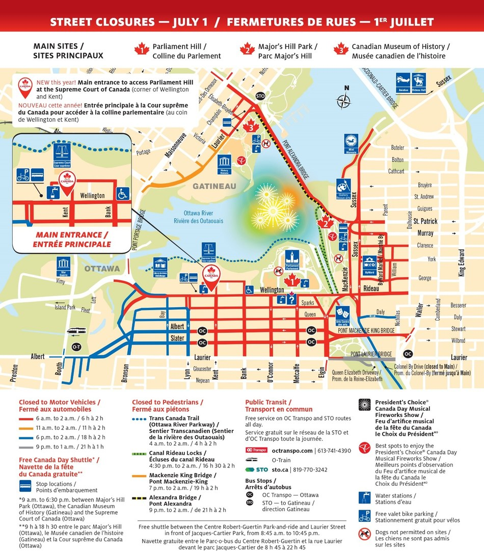 Street closures - July 1 (CNW Group/Canadian Heritage)