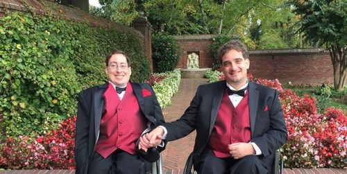 RespectAbility's Ben Spangenberg with his husband Justin Chappell on their wedding day