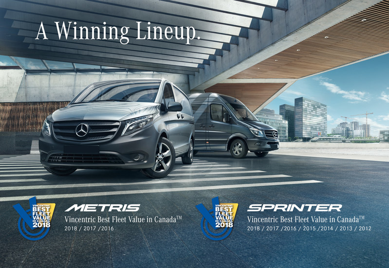 Building on an established reputation for outstanding quality and ROI, Mercedes-Benz Vans have once again been listed among the winners of Vincentric's Best Fleet Value in Canada awards. (CNW Group/Mercedes-Benz Canada Inc.)