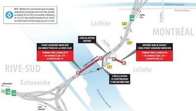 Principales entraves sur le réseau routier de la région de Montréal ce soir et la longue fin de semaine de la fête du Canada (Groupe CNW/Ministère des Transports, de la Mobilité durable et de l'Électrification des transports)