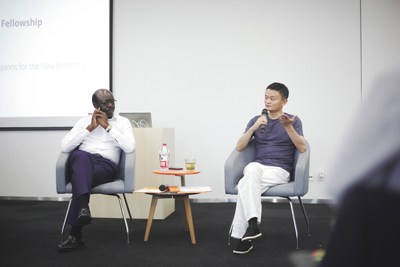 Alibaba Group Executive Chairman Jack Ma and UNCTAD Secretary-General Mukhisa Kituyi address the eFounders class