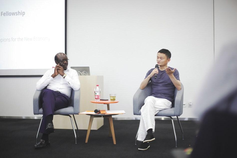 Alibaba Group Executive Chairman Jack Ma and UNCTAD Secretary-General Mukhisa Kituyi address the eFounders class
