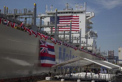 New Matson vessel Daniel K. Inouye at christening ceremony, Philly Shipyard, June 30, 2018.