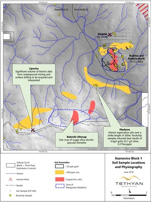 Figure 3: Plavkovo, Bukovic and Lipovica Targets, location of soil grids and soil anomalies, Kaznovice Exploration License. (CNW Group/Tethyan Resources PLC)