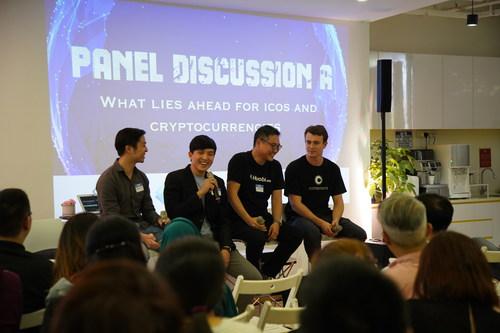From left: Leonard Tan (Developer Relations, Ethereum Foundation), Jeremy Seow (Managing Partner, Chainrock), Jack Chia (Business Development Director, Huobi), Maxwell Stein (Blockchain Business Architect, Consensys). (PRNewsfoto/Talenta)